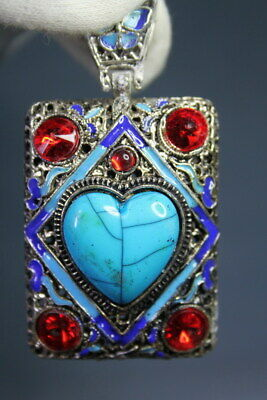 Decorative Rare Miao Silver Inlay Heart Shaped Turquoise & Flower Noble Pendant
