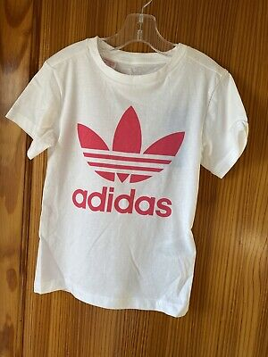 Girls Adidas Age 6-7 Years White Pink Logo Short Sleeved T Shirt Top New Tags