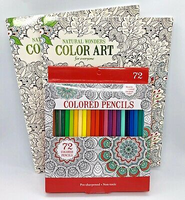 Natural Wonders ADULT COLORING BOOK Kit, 72 Colored Pencils, 2 Books BRAND NEW!