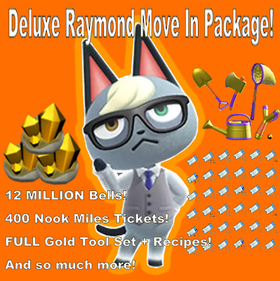 Raymond Animal Crossing! DELUXE move in 400 Nook Tickets and MILLIONS of Bells!!