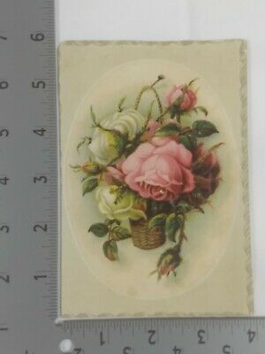Victorian Trade Card Lion Coffee Woolson Spice Hanging Basket Flowers Trimmed