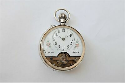 1904 Silver Cased 8 Day Hebdomas Type Swiss Lever Pocket Watch In Working Order