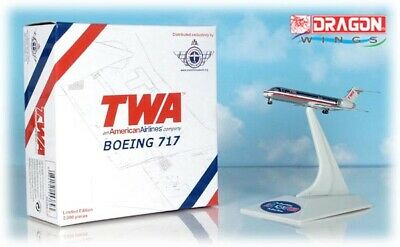 DAMAGED Dragon Wings 1:400 TWA/American Airlines Boeing 717 Hybrid 55384/CRS002
