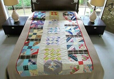 NARROW Vintage Feed Sack Hand Pieced QUILT With NO BATTING (Just Top & Backing)