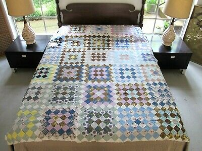 FULL Vintage Hand Pieced All Cotton Some Feed Sacks (?) CHECKERBOARD Quilt TOP