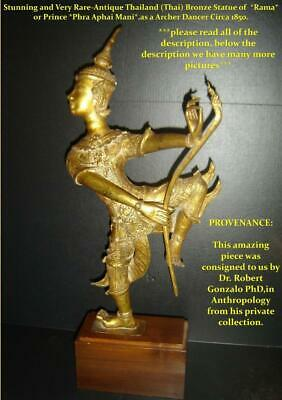 Antique Thailand Thai Bronze Buddha Sculpture Rama Prince Phra Aphai Mani Dancer