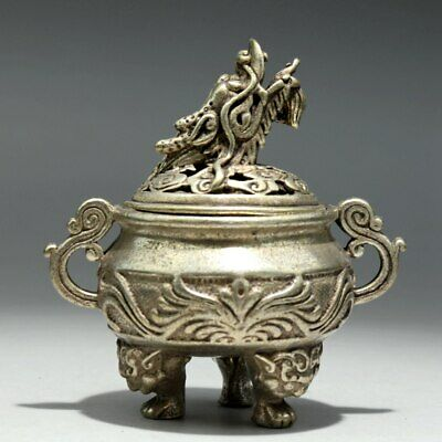 Collectable China Old Miao Silver Hand-Carve Myth Dragon Moral Auspicious Censer