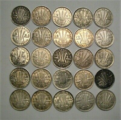 Collection Lot Australia Three Pence Silver Coins**25 Coins**1939 - 1943**