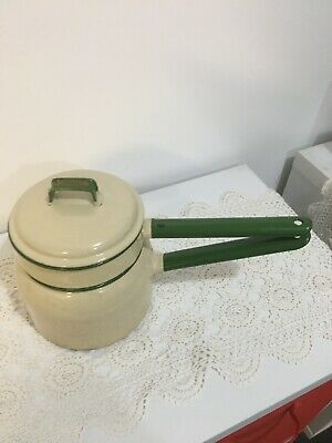 Vintage Enamel Ware Double Boiler Cream And Green.