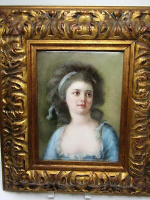 "Antique Elite Limoges Bawo & Dotter Porcelain Plaque - Portrait Lady 15"" Framed"