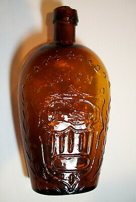 Amber, Clasped Hands / Eagle, Historical Whiskey Flask - Civil War Era