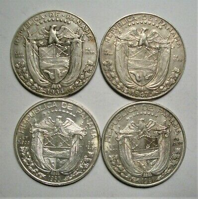 Collection Lot Panama 1/2 Balboa Silver Coins**1934, 37, 53, 61**Take a Look**