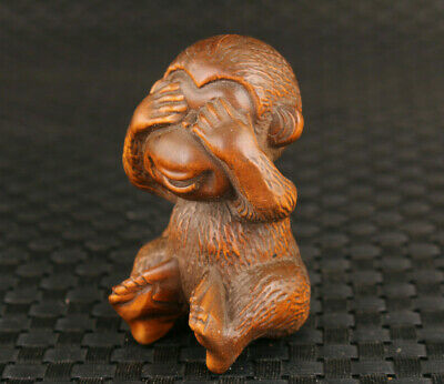 Lovely collection chinese boxwood hand carved monkey figure statue decoration