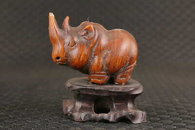 Chinese old Yak horn rhinoceros Figure statue collection Netsuke home decoration