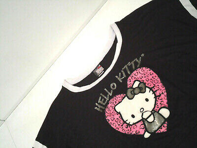 Hello Kitty Womens Cropped Shirt Size XL Black 3/4 Sleeve Heart Scoop Neck Top