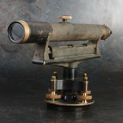 :Buff & Buff Surveyors Level Transit 1920's Brass Telescope w/ Case