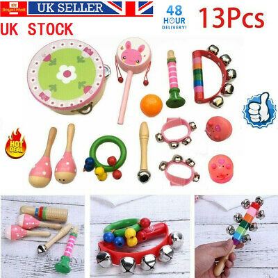 13PCs Wooden Kids Baby Musical Instruments Set Toys Children Toddlers Percussion