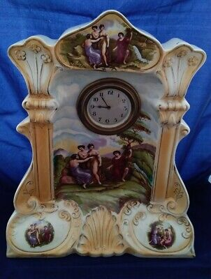 Stunning Very Large Antique Continental Pottery Highly Ornate Mantle Clock