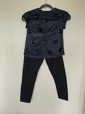 M&S Girls Navy Dressy Top And Trousers Set (top- Age 8-9, Trousers- Age 7-8)