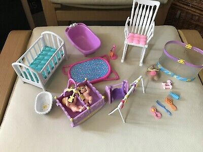 Lots of Barbie & Other Toy Nursury Furniture & Twin Baby Dolls & Accessories