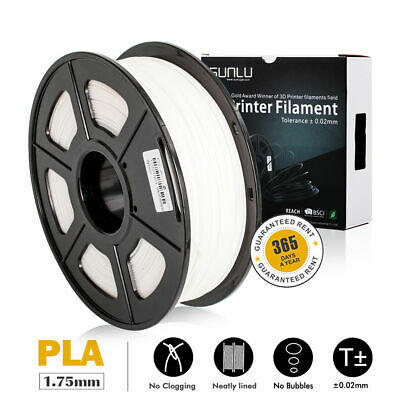 SUNLU 3D PLA Printer Filament 1.75mm 1KG/2.2lb Spool PLA White Consumables