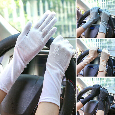 Womens Lace Floral Gloves Anti-UV Sunscreen Bridal Wedding Party Finger Mittens