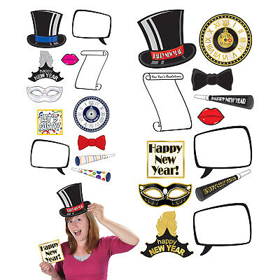 (12) New Year Photo Fun Signs prtd 2 sides w/different designs