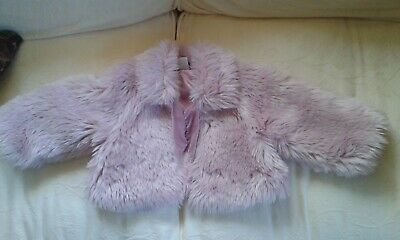Girls Pink Furry ZigZag Coat Age 2-3 Years IMMACULATE!!