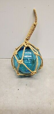 Blown Glass Bouy With Netting turquoise blue 4 inch