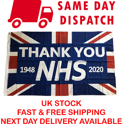 Large Thank You NHS RAINBOW Flag Banner Badge Gift Doctor 90 x 60 Union Jack