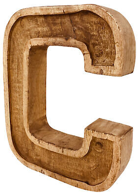 Hand Carved Wooden Ornament Decoration Rustic Shabby Chic Antique Style Letter C