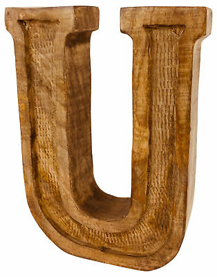 Hand Carved Wooden Ornament Decoration Rustic Shabby Chic Antique Style Letter U