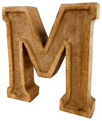 Hand Carved Wooden Ornament Decoration Rustic Shabby Chic Antique Style Letter M
