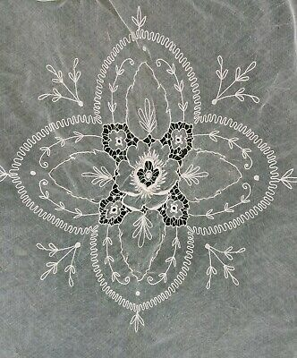 Antique Edwardian Hand Embroidered Bridal Net Lace Bedspread