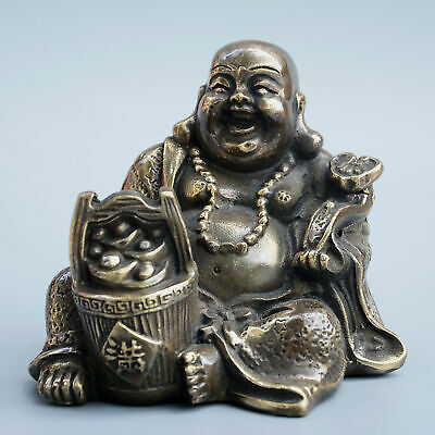 Collect China Old Bronze Hand-Carved Happy Buddha & Gold Ingot Bring Luck Statue