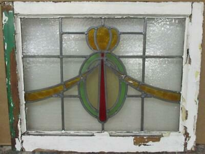 "MIDSIZE OLD ENGLISH LEADED STAINED GLASS WINDOW Gorgeous Swag 24.25"" x 19"""