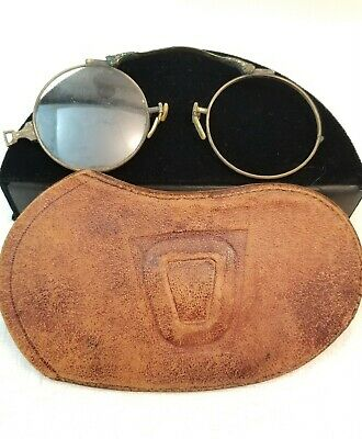 ANTIQUE VINTAGE ROUND PINCH EYE GLASSES SPECTACLES with LEATHER POUCH AS IS