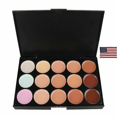 15 Colour Concealer Camouflage Contour Eye Face Cream Makeup Full Coverage US