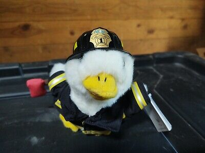 Aflac Duck plush fireman firefighter talking stuffed animal soft toy 6""