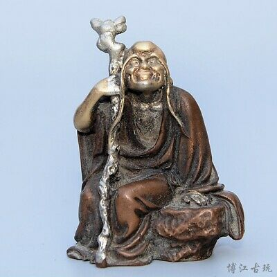 Collectable China Old Red Copper Hand-Carved Immortal Moral Auspicious Statue