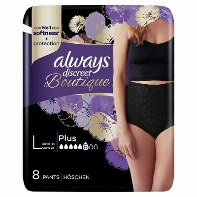 Always Discreet Boutique - Incontinence Pants - Black - Large - Pack of 8