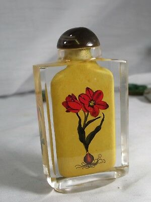 Chinese Reverse Painted Crystal Opium Snuff Bottle Poppy Flower Floral Design