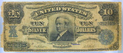 VERY GOOD SERIES 1908 Fr. 304 $10 SILVER CERTIFICATE TOMBSTONE NOTE - VG