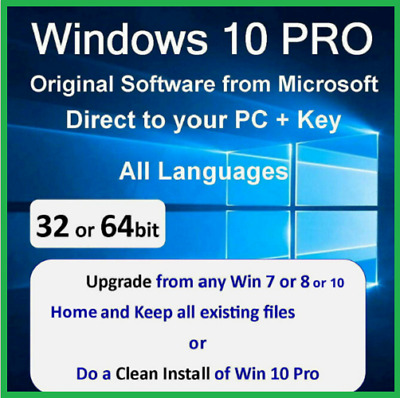 Windows 10 Pro 32/64bit Genuine Key Instant delivery - Upgrade Home to Pro.