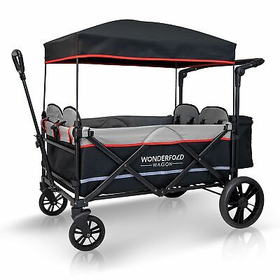 WONDERFOLD 4-Passenger Stroller Wagon with Canopy and 5-Point Harness (Open Box)