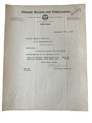 State Bank Of Chicago 1916 Letterhead - Chicago Title & Trust Lasalle & Wash
