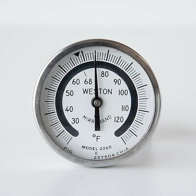 "Weston Mirroband Model 2265 Darkroom 1 3/4"" Dial Thermometer 6"" Stem"