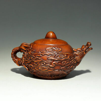 Collectable China Old Boxwood Hand-Carved Myth Dragon Luck Tea Pot Decor Statue
