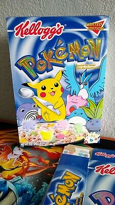 5 Kellogg's Cereal Pokemon Limited Edition Foil Box 2000 Pikachu Flattened RARE