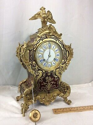 Antique Ormolu Bronze Boulle Payne & Co Paris Mantle Clock